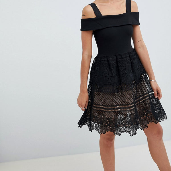 French Connection Amelia Lace Off Shoulder Dress - Black