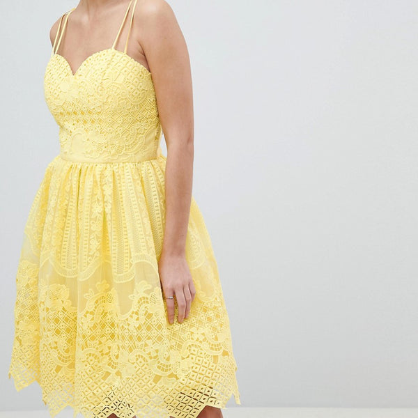 Chi Chi London Cami Strap Mini Prom Dress With Open Back - Yellow