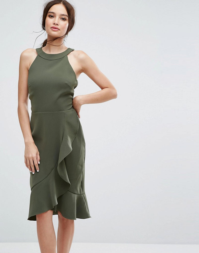Paper Dolls High Neck Midi Dress with Frill Detail - Forest green