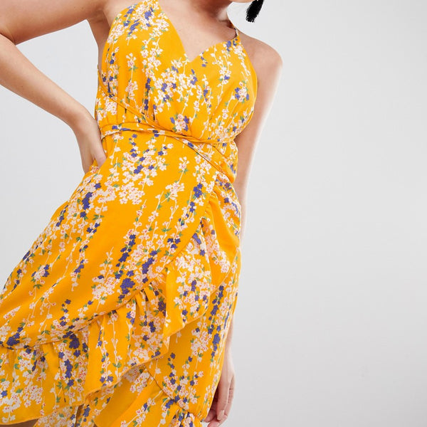 Parisian Floral Wrap Cami Dress With Frill - Yellow