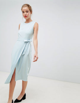 Closet London tie v-back pencil dress in sky blue - Sky blue