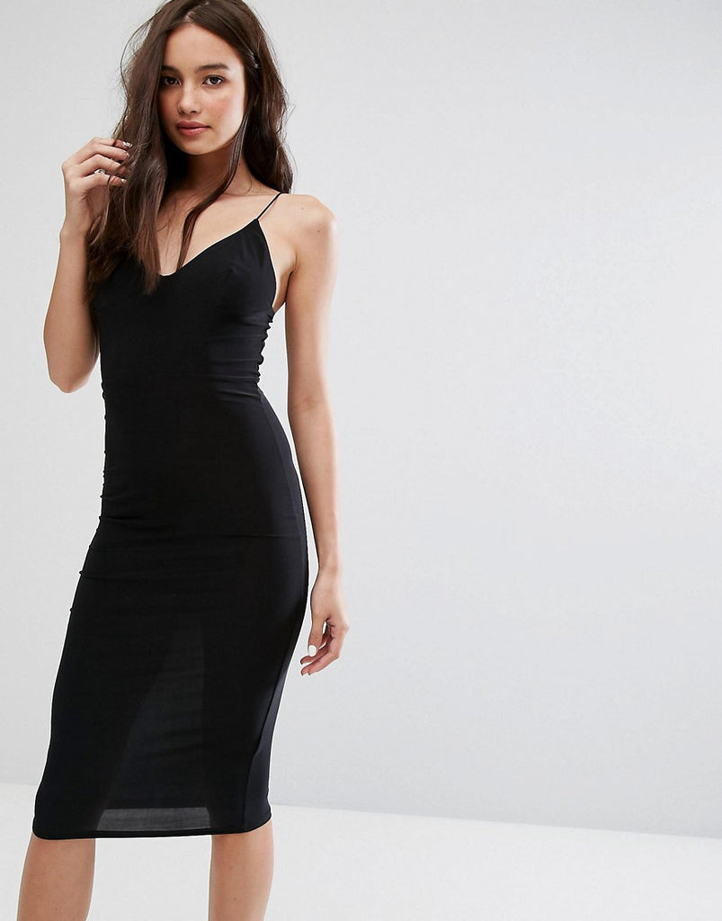 Club L Midi Dress with Cami Strap - Black