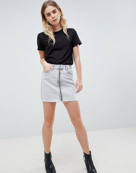 Dr Denim Mini Skirt with Exposed Zip - Dirty white