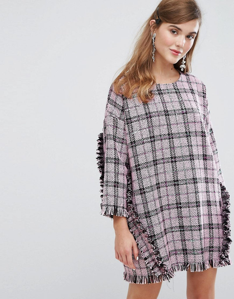 Sister Jane Oversized Dress With Ruffles In Tweed - Black & white