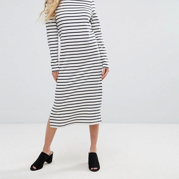 Ganni Old Spice Striped Classic Shift Dress - Nature/dress blues