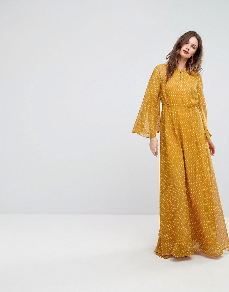 Y.A.S Maxi Dress With Fluted Sleeve - Yellow