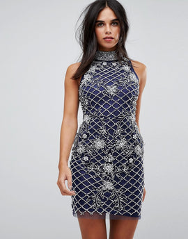 A Star Is Born Heavily Embellished Halter Mini Dress - Blue