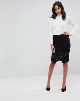 Lunik Lace Pencil Skirt - Black