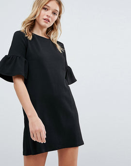 Pull&Bear Frill Sleeve Tee Dress - Black