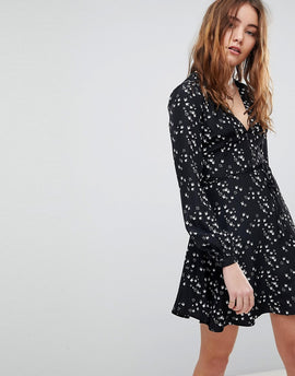 Glamorous Long Sleeve Wrap Dress In Swallow Print - Black swallow