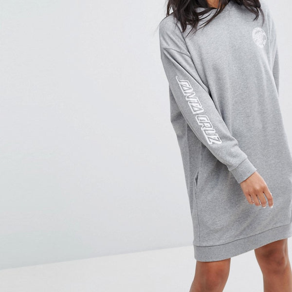 Santa Cruz Sweat Dress With Arm Print - Grey heather