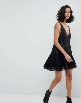 Free People Any Party Trapeze Slip Dress - Black