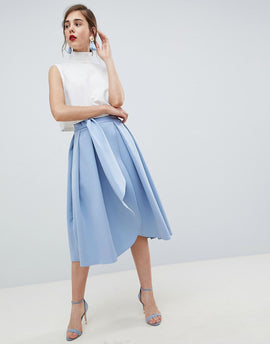 ASOS DESIGN scuba wrap prom skirt with split and tie waist - Forever blue