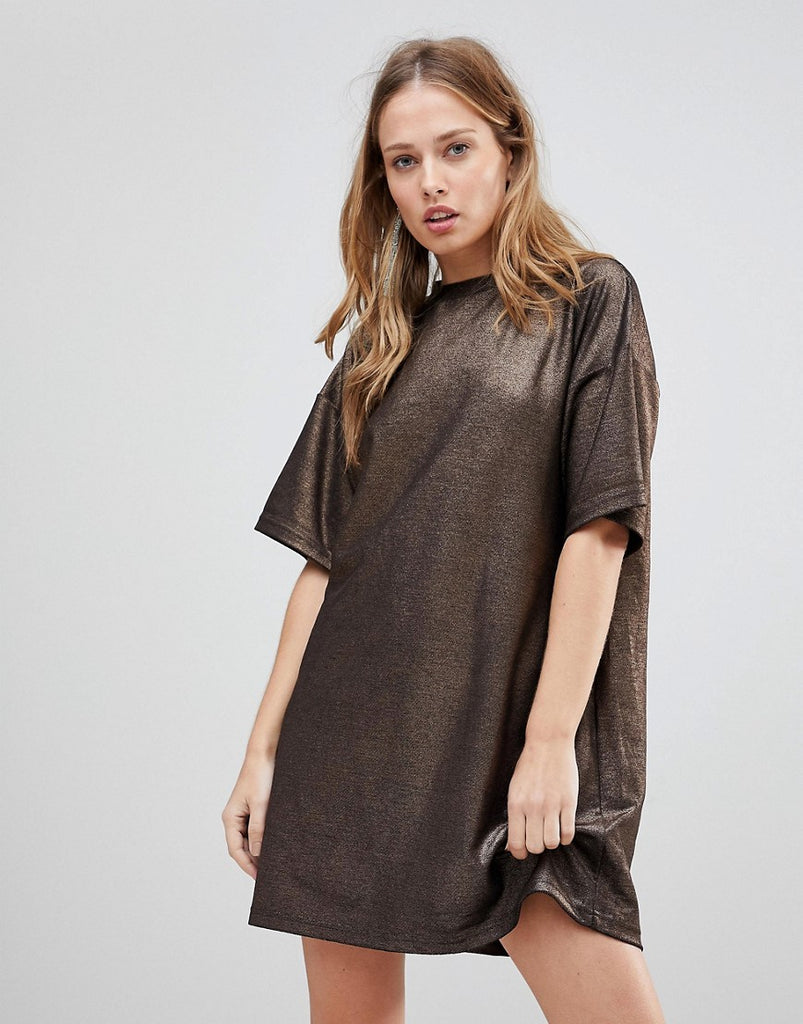 The Fifth Rather Be Metallic T-Shirt Dress - Rose gold