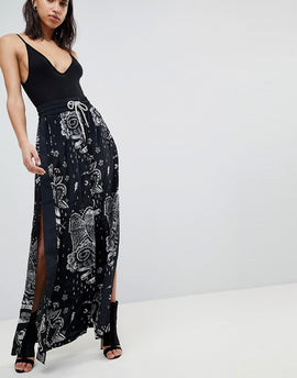 Diesel Tattoo Print Maxi Skirt - Black