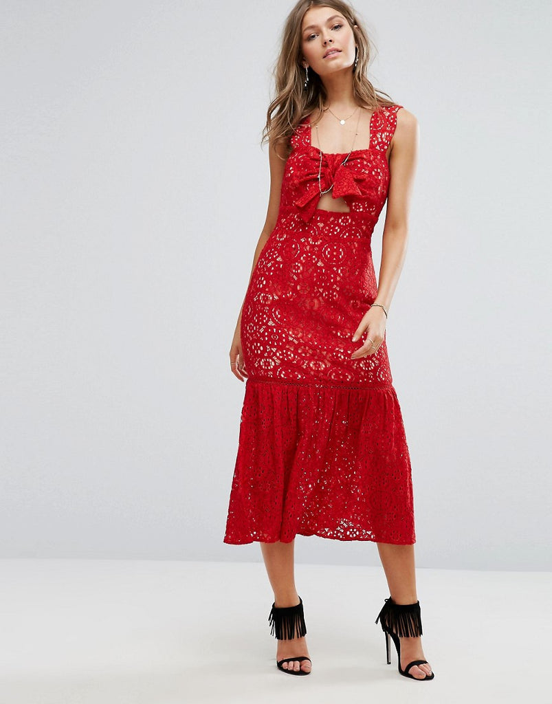 Foxiedox Bow Front Midi Lace Dress - Red