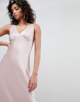 Ghost bridesmaid satin maxi dress with v front & back - Boudior pink