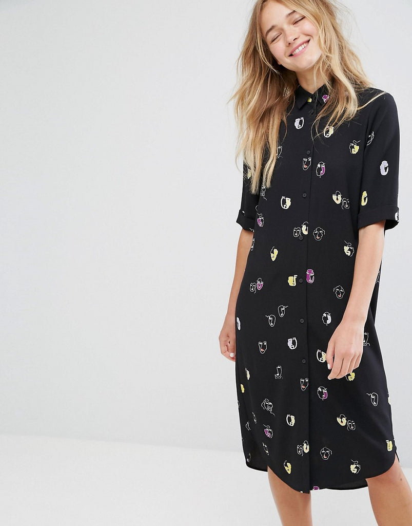Monki Faces Print Shirt Dress - Black