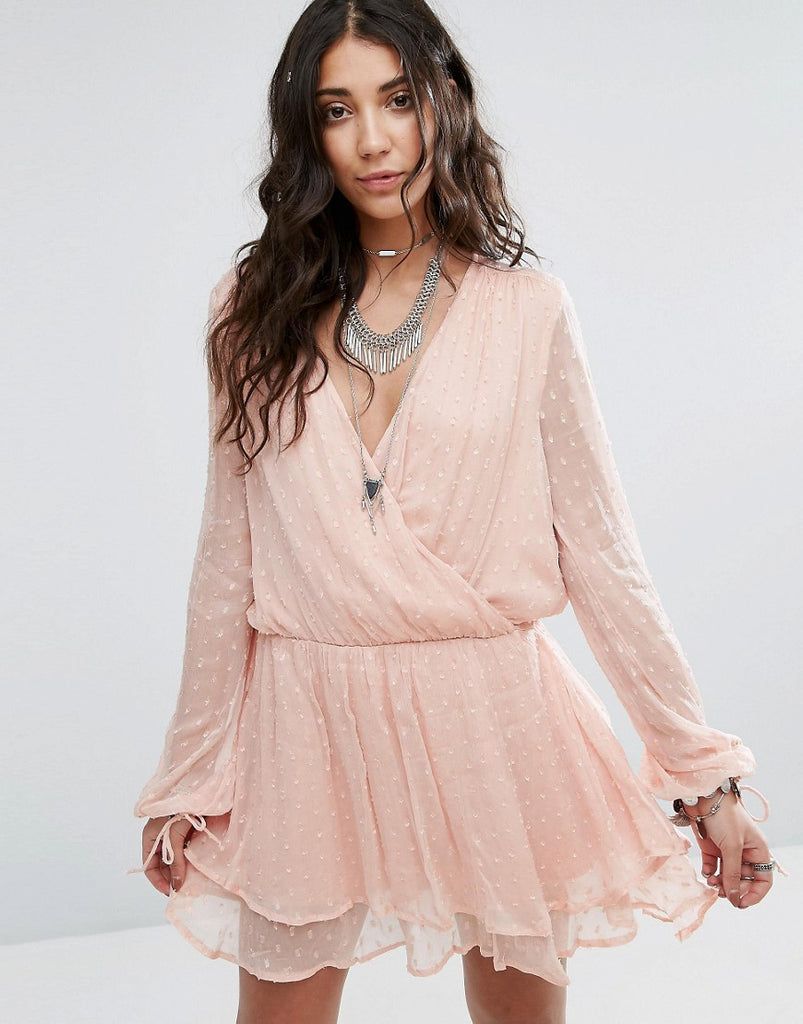 Free People Daliah Wrap Mini Dress - Peach
