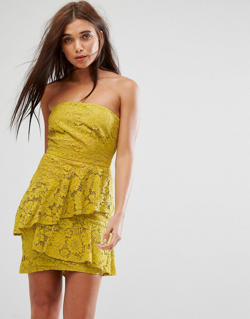 Missguided Lace Bandeau Midi Dress - Yellow