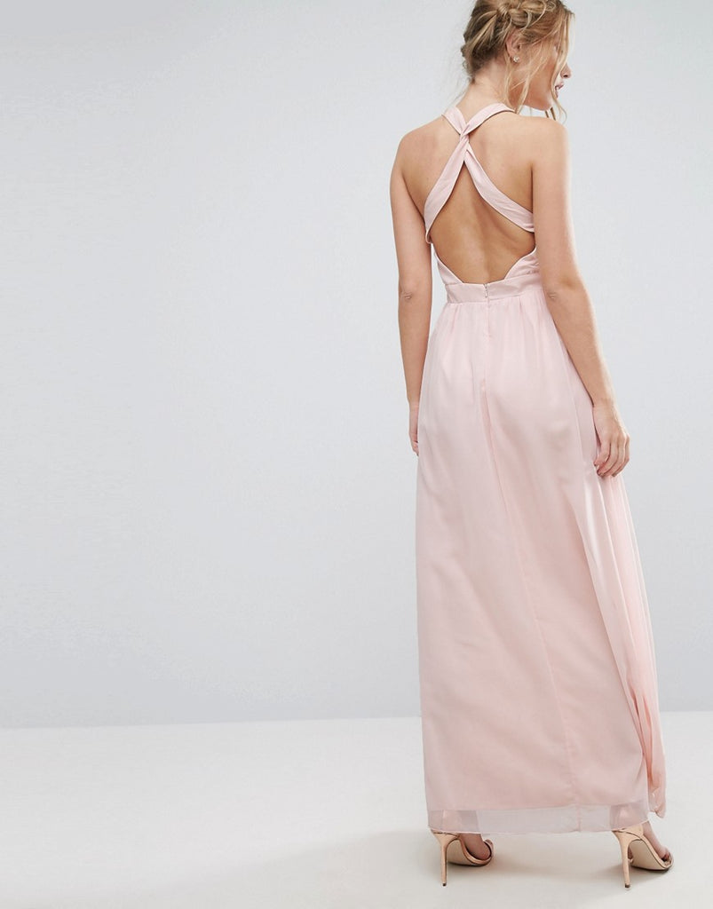 Little Mistress High Neck Maxi Dress with Open Back - Nude floral print