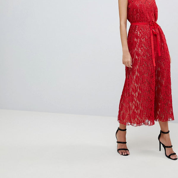 Little Mistress All Over Lace Midaxi Cami Dress - Red