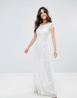 French Connection Coachella Stitch Maxi Dress - Summer white