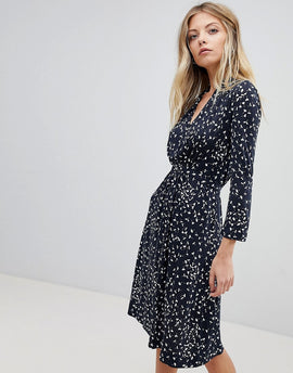 French Connection Printed Jersey Wrap Dress - Navy