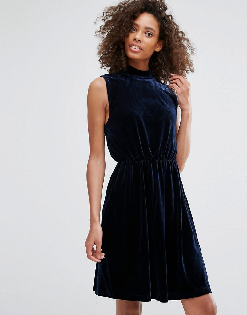 Vila High Neck Dress - Total eclipse