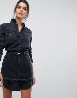 Diesel Denim Shirt Dress with Skirt Overlay - Black