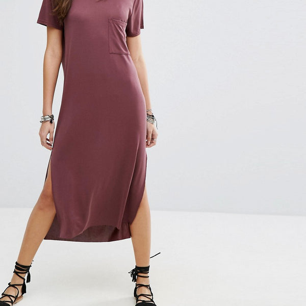 Lira Maxi T-Shirt Beach Dress - Burgundy