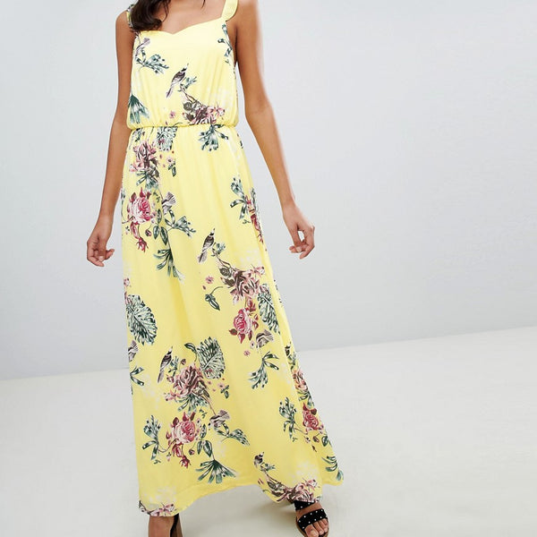 Vila Floaty Floral Maxi Dress - Yellow iris