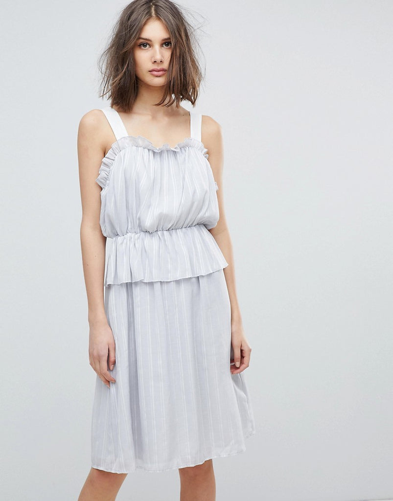 Lost Ink Ruffle Strappy Dress - Light grey