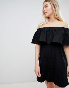 Pull&Bear off the shoulder bardot dress in black - Black