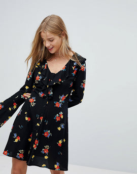 Nobody's Child Tea Dress In Floral - Black floral