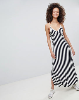 Bershka stripe cami maxi dress in navy - Navy blue