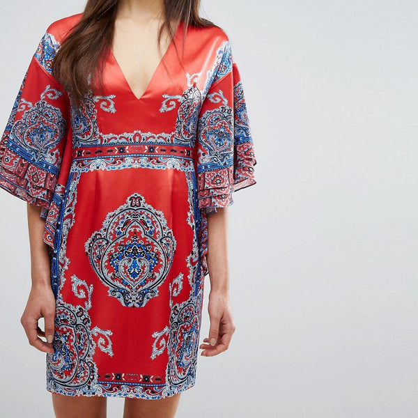 Comino Couture Printed Kimono Dress With Plunge Front - Red/blue