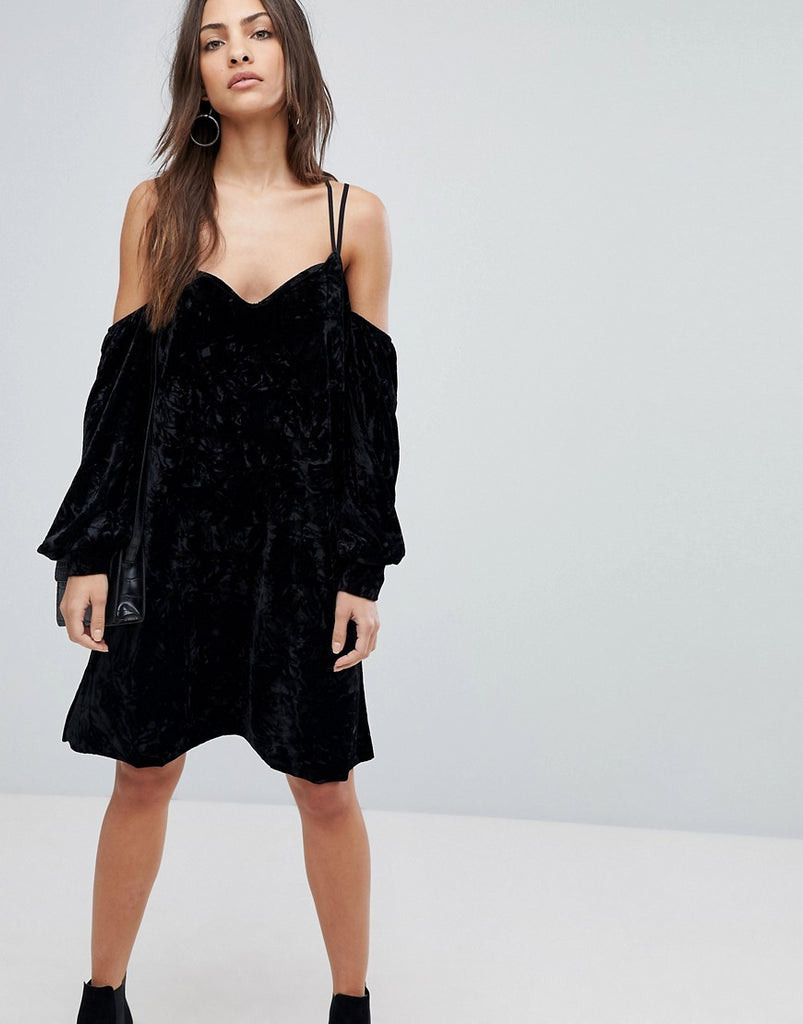 Y.A.S Cold Shoulder Velvet Mini Dress - Black