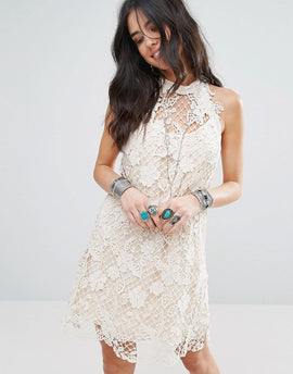 Free People Snowrop Trapeze Lace Party Dress - Softshell combo