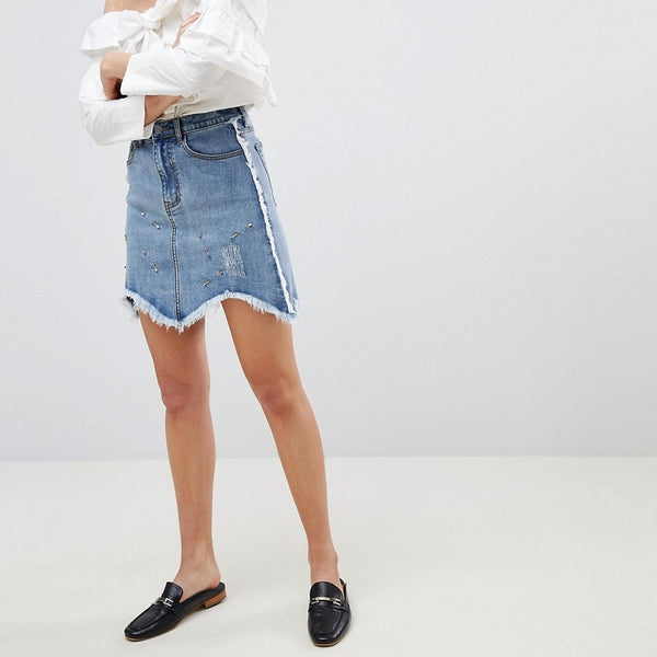 Current Air Denim Mini Skirt with Raw finish - Mid blue