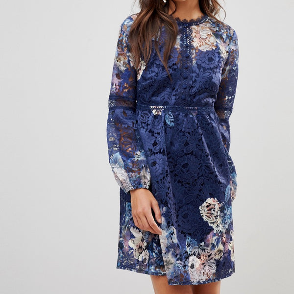 Little Mistress All Over Floral Lace Smock Dress With Bell Sleeve - Navy multi