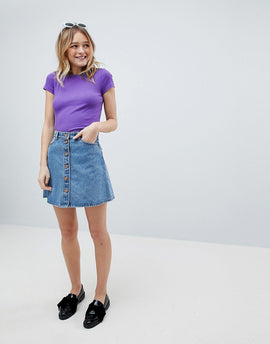 Monki Denim Button Up Skirt - Blue