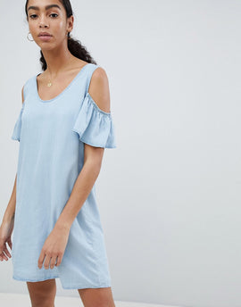 Noisy May Cold Shoulder Denim Shift Dress - Blue