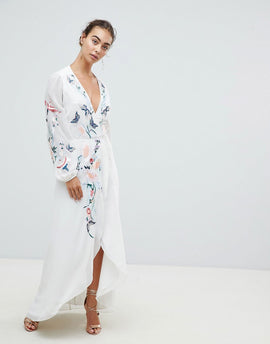 Hope & Ivy Wrap Front High Low Maxi Dress With Floral Embroidery - White