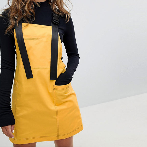 The Ragged Priest Dress With Straps And Clips - Yellow