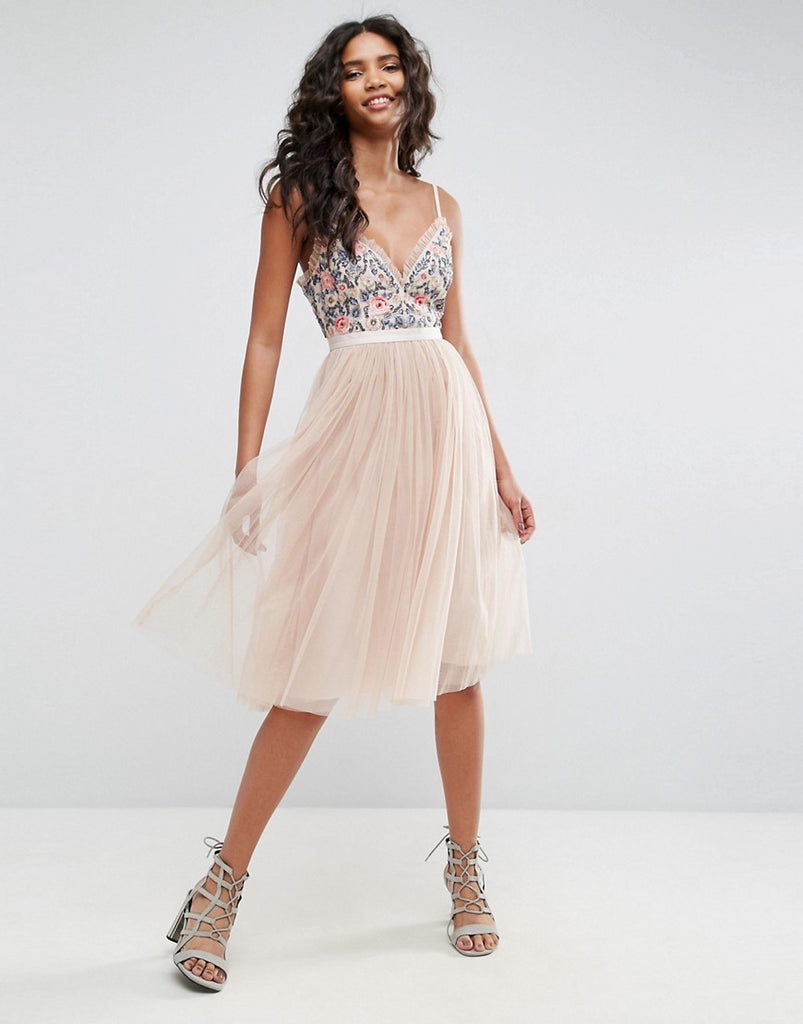 Needle & Thread Whisper Embroidered Tulle Midi Dress - Petal pink
