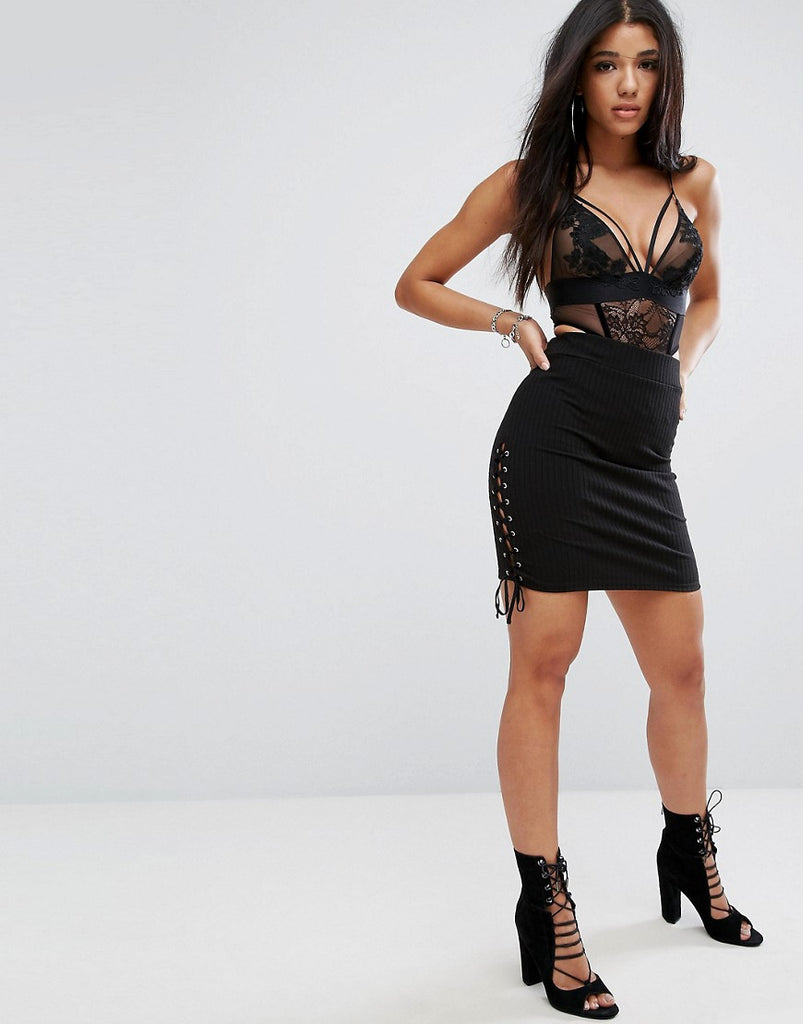 Glamorous Ribbed Bodycon Pencil Skirt With Lace Up Sides - Black
