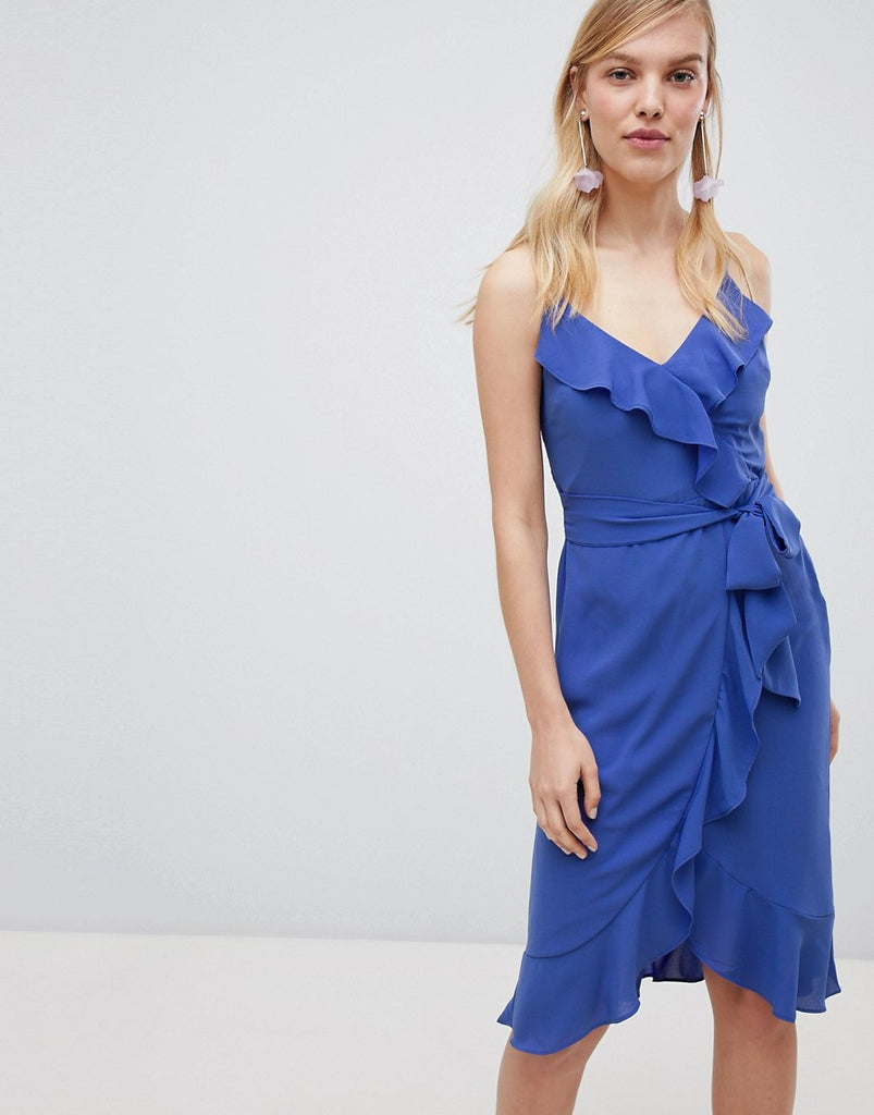 Oasis Cami Frill Front Wrap Midi Dress - Blue