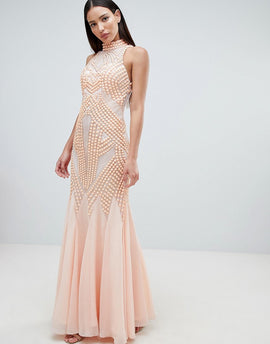 Forever Unique Lace Detail Halter Fishtail Maxi Dress - Peach