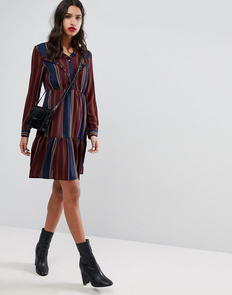 Vero Moda Ruffle Stripe Dress - Multi